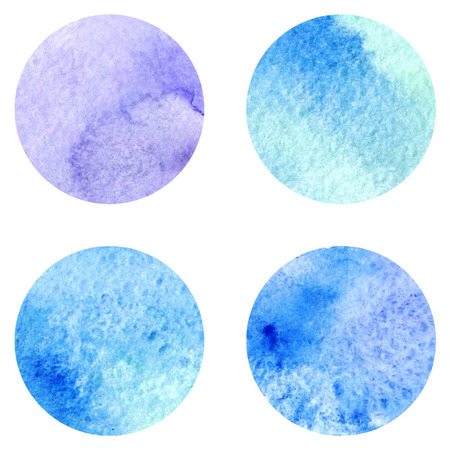 frost: Watercolor blue winter frost circle vector texture background isolated.
