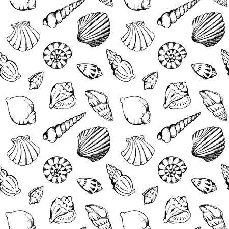 Monocromatico conchiglie di mare vector seamless texture di sfondo.