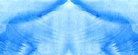 monotype: Watercolor blue monotype print water texture background. Stock Photo