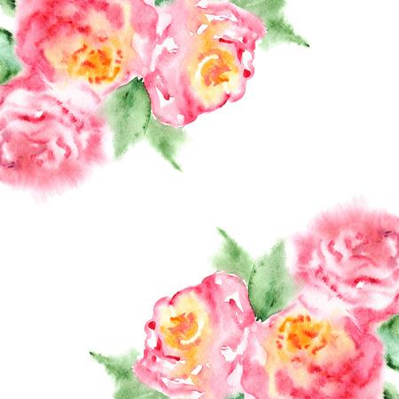 tea rose: Watercolor pink tea rose flower floral composition frame. Stock Photo