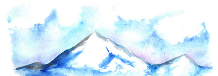 ice mountain: Watercolor North winter ice mountain landscape hand drawn.