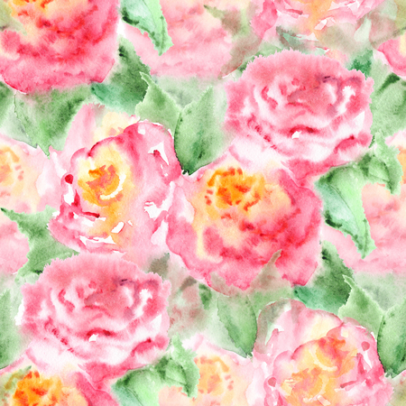 green flowers: Watercolor pink tea rose flower floral composition isolated.