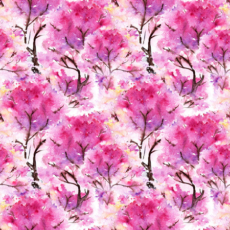 flower decoration: Watercolor pink cherry sakura seamless pattern texture background.