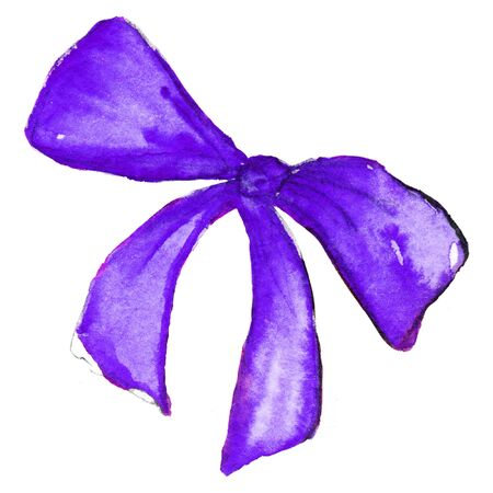 violet purple: Watercolor violet purple bow tape ribbon isolated.