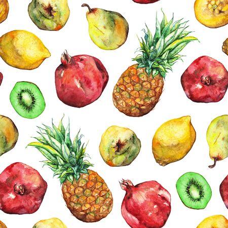 tropical fruit: Watercolor pineapple pomegranate lemon pear kiwi fruit seamless pattern.
