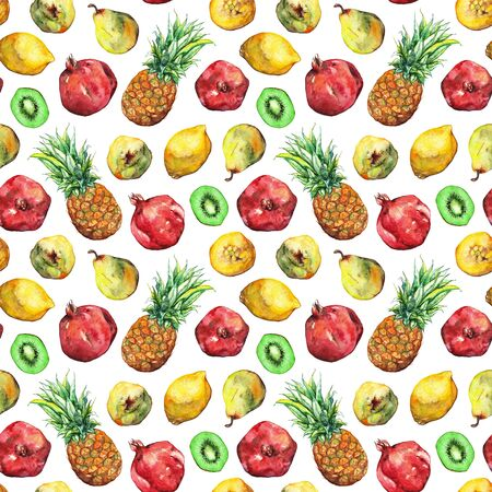 kiwi fruit: Watercolor pineapple pomegranate lemon pear kiwi fruit seamless pattern.