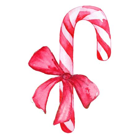 peppermint candy: Christmas sweet peppermint cinnamon candy cane lollipop bow isolated.
