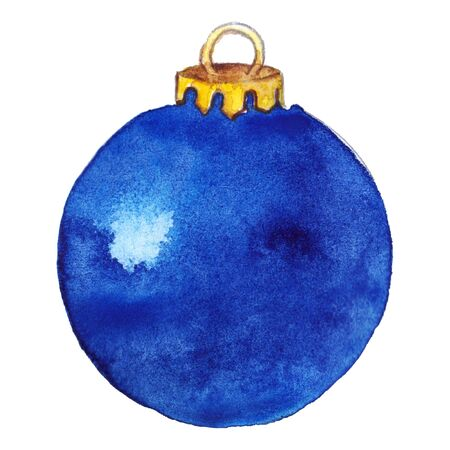 the shine: Watercolor blue shine glass Christmas ball isolated. Stock Photo