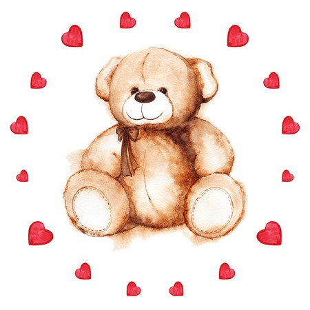 saint valentines: Watercolor teddy bear heart Saint Valentines day card. Stock Photo