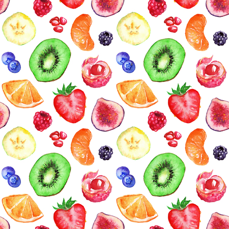 berry fruit: Watercolor tropical fruit berry seamless pattern background.