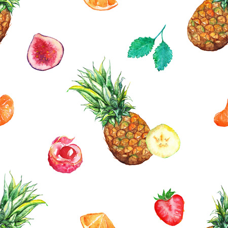 Watercolor tropical fruit berry seamless pattern background.