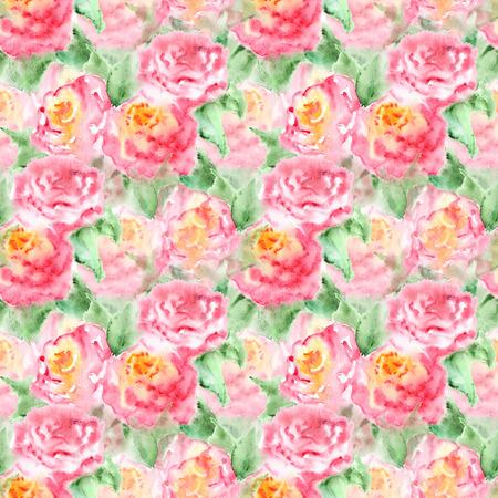 dessin fleur: th� rose Aquarelle fleur rose composition florale isol�.