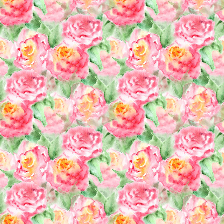 flower decoration: Watercolor pink tea rose flower floral composition isolated.