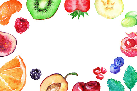 exotic fruit: Watercolor exotic fruit berry sweet frame isolated. Stock Photo