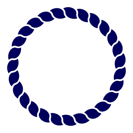 Circle blue navy rope vector line art isolated.