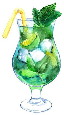 exotic fruit: Watercolor mojito lime ice mint cocktail isolated.