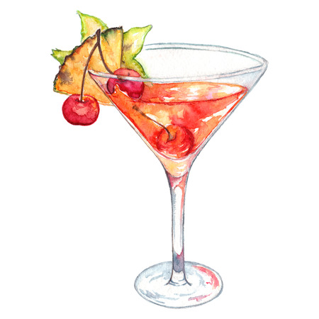 cocktail glasses: Watercolor rum orange cinnamon alcohol cocktail isolated. Stock Photo