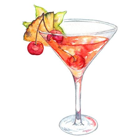 rum: Watercolor rum orange cinnamon alcohol cocktail isolated. Stock Photo
