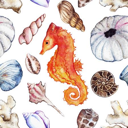 polyp: Watercolor sea ocean seahorse seashell coral ammonit urchin seamless pattern.