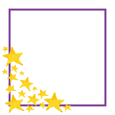 pointed: Watercolor five pointed star symbol frame template background.