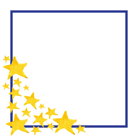 five pointed: Watercolor five pointed star symbol frame template background.