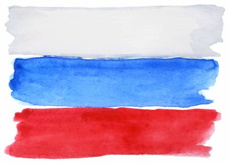 russian flag: Watercolor Russia Russian flag 3 three color vector isolated.