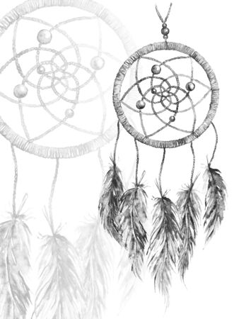 hunters: Watercolor monochrome ethnic tribal hand made feather dreamcatcher.