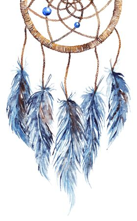 Watercolor ethnic tribal hand made feather dreamcatcher.