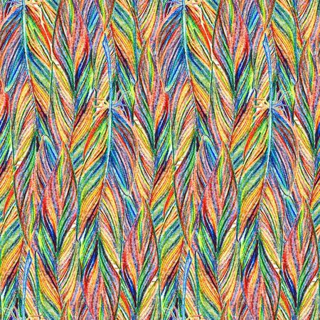 braid: Rainbow colorful bird feather braid seamless pattern texture background. Stock Photo