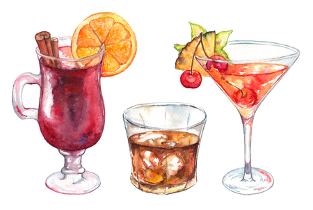 brandy: Watercolor exotic drink alcohol cocktail set isolated.