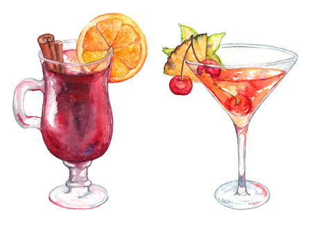 Watercolor exotic drink alcohol cocktail set isolated.