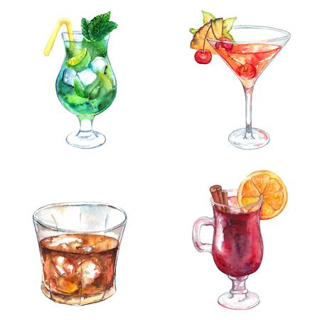 Watercolor exotic drink alcohol cocktail set isolated. Stok Fotoğraf - 58028894