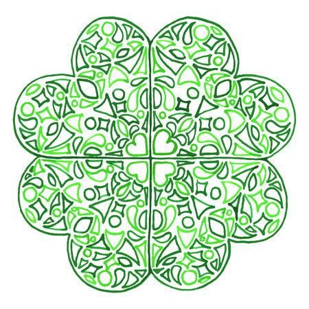 trifolium: Doodle clover shamrock Saint Patricks Day isolated.
