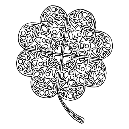 Doodle clover shamrock Saint Patricks Day isolated.