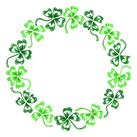 trifolium: Doodle green clover shamrock circle wreath line art isolated.