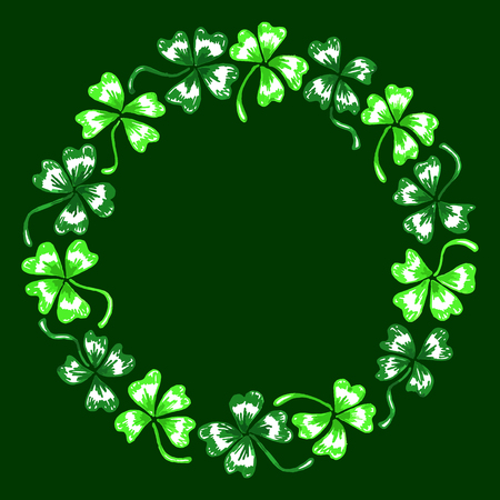 trifolium: Doodle green clover shamrock circle wreath line art isolated.