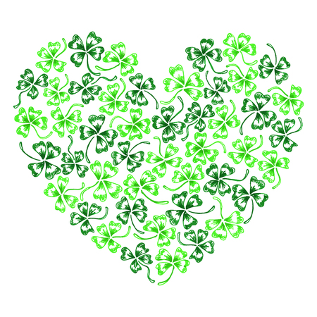 trifolium: Doodle green clover shamrock heart  line art isolated. Illustration