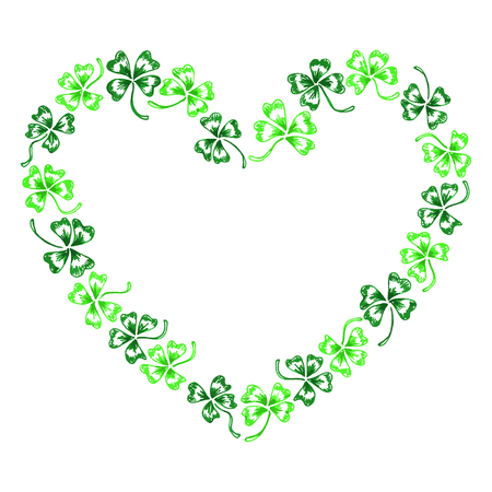 trifolium: Doodle green clover shamrock heart line art isolated.