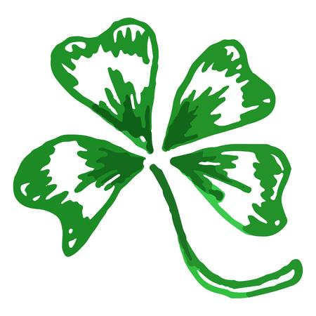trifolium: Doodle green clover shamrock Saint Patricks Day isolated.