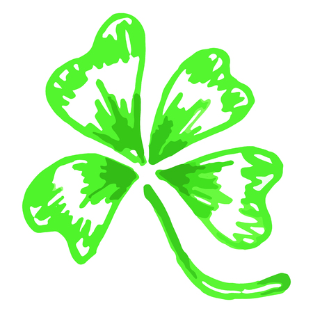 neon plant: Doodle green clover shamrock Saint Patricks Day isolated.