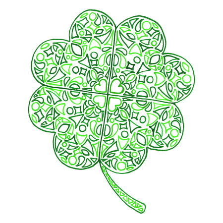 trifolium: Doodle clover shamrock Saint Patricks Day isolated.