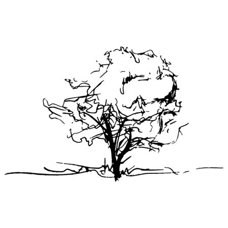 tree line: Monochrome tree silhouette sketched line art isolated. Illustration