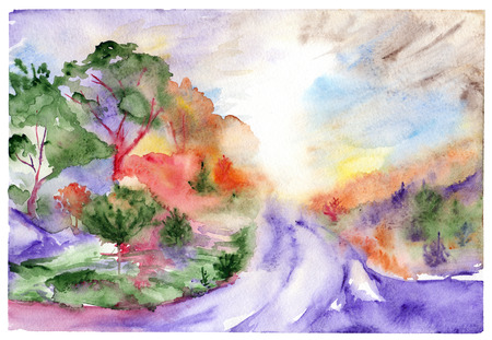 summer trees: Watercolor violet road trees pines wood forest landscape. Stock Photo