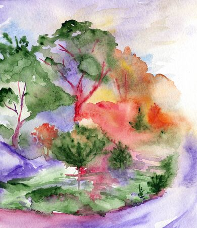 abstract rainbow: Watercolor violet road trees pines wood forest landscape. Stock Photo
