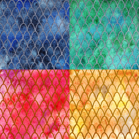snake leather: Dragon skin scales pattern texture background four colors set.