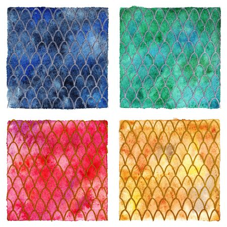 Dragon skin scales pattern texture background four colors set.