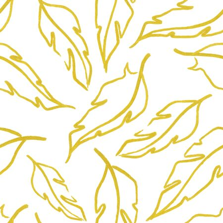 piuma bianca: Giallo oro bianco simbolo foglia piuma seamless texture di sfondo. Archivio Fotografico