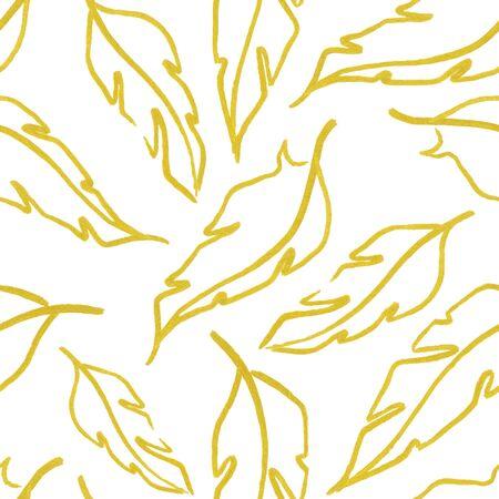 white feather: Golden yellow white feather leaf symbol seamless pattern texture background. Foto de archivo