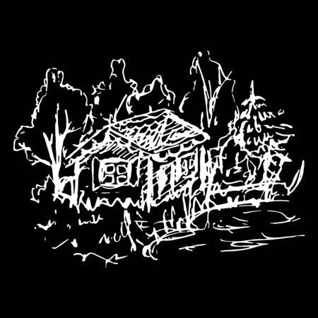 hamlet: Black and white village house sketched line art vector.