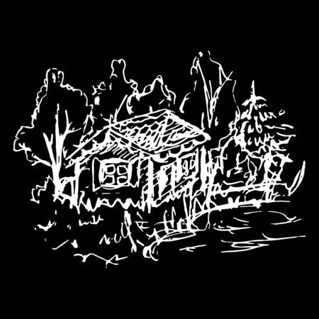 Black and white village house sketched line art vector.